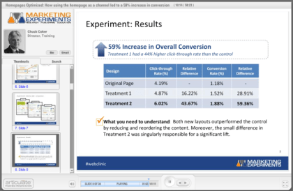 Marketing Experiments Home Page Optimization Webinar Screenshot