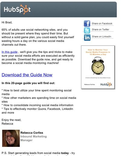 Hubspot social media marketing ebook eblast
