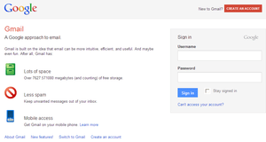 Gmail's log-in page (September 2011)