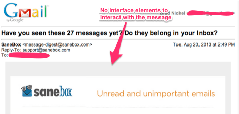 Nonsensical (dumb) Gmail User Interface – message text is clipped