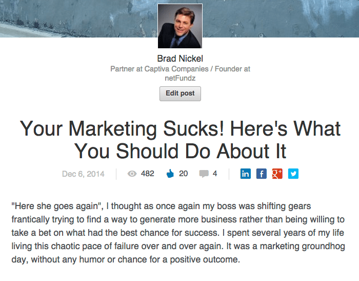 Your Marketing Sucks and Here's What You Can Do About – LinkedIn Post